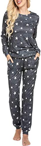 Ekouaer Womens Star Print Long Sleeve Top Shirt and Pants Pajama Set Sleepwear Loungewear Nightwear product image