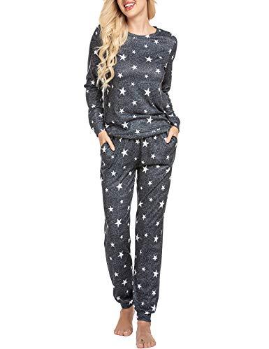 Ekouaer Womens Star Print Long Sleeve Top Shirt and Pants Pajama Set Sleepwear Loungewear Nightwear PJ with Pockets