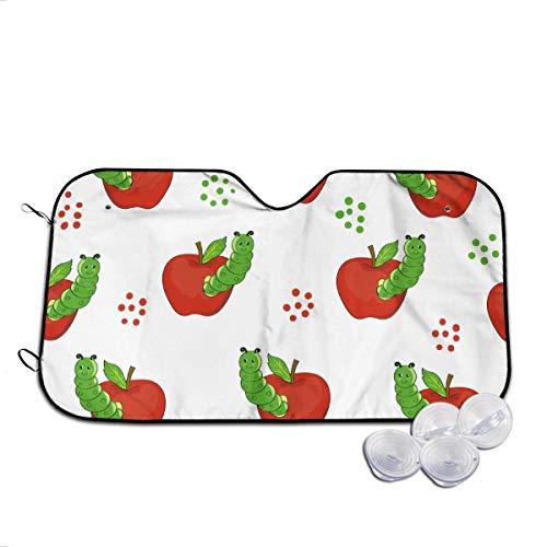 Osmykqe Niedliche Raupen mit Äpfeln, Auto-Sonnenschutz für Windschutzscheibe, universelle Passform, Sonnenschutz, Blendschutz, UV- und Hitzeschutz, Autoinnenraum