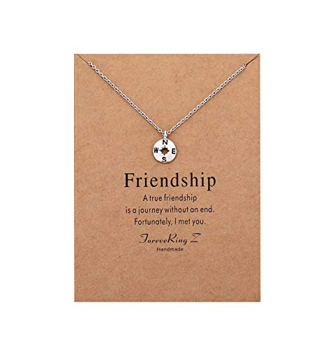 Wishoney Compass Pendant Necklace Women Jewelry Friendship Gift Disc Choker