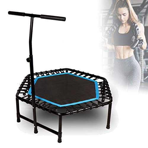 Ycrdtap 48' Foldable Trampoline, Elastic Rope Silent Safety Jumper Bounce with Adjustable Handrail, Lean Aerobic Exercise Rebounder, Fun for Adutls And Kids