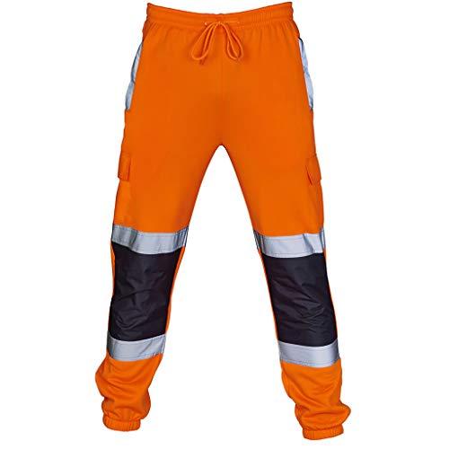 Eghunooye Herren Sporthose Reflektierend Hosen Jogging Warnschutzhose Gelb Orange Drawstring Reflektionsstreifen Länge Sicherheit Arbeitshose (Orange, XXL)