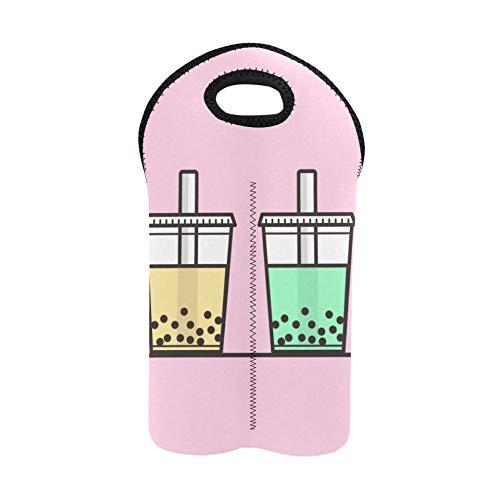 Bolsas de vino Cute Boba Bebida de té verde Bolsas de degustación de vino Portabotellas doble Bolsa de vino de playa Portabotellas de neopreno grueso Mantiene las botellas protegid