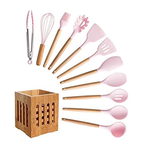 Ming Ming Conjunto de utensilios de cocina de silicona Conjunto de herramientas de cocción de mango de pala de espátula antiadherente Conjunto con caja de almacenamiento Accesorios para herramientas d