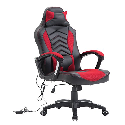 HOMCOM Racing Style Ergonomic Gaming Chair with Lumbar Support - Red/Black black chair gaming