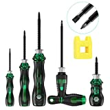 Upgraded Magnetic Screwdriver Set, VICOODA 10 in 1 Retractable Screwdriver Multi-Bit Double-Tip, 5 Phillips and 5 Slotted Tips Professional Cushion Grip Non-Slip Home Improvement Repair Tool (Green)