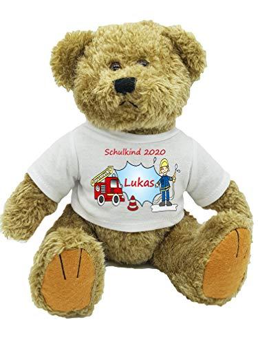 Kilala personalisierter Bär Plüschtier Feuerwehr für die Zuckertüte Schultüte mit Wunschname zur Einschulung Glücksbringer