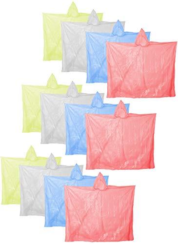 com-four 12x Poncho da Pioggia con Cappuccio - Poncho monouso in Diversi Colori - Poncho di Emergenza per concerti, Stadio, Escursioni, Campeggio
