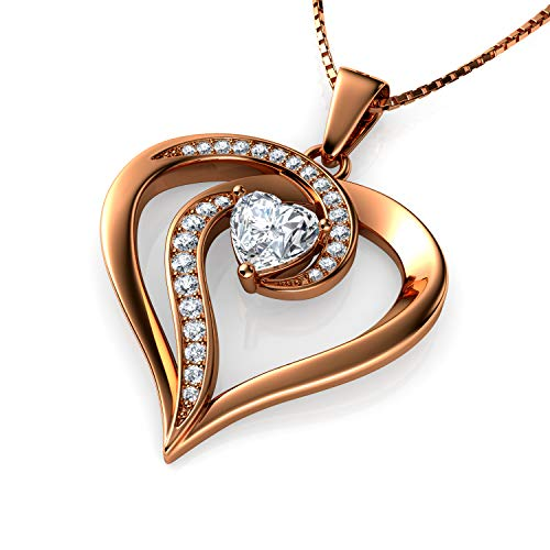 DEPHINI - Elegant Necklace - Rose Gold 925 Sterling Silver - Heart Pendant with CZ Crystals - Fine Jewellery Woman Necklace - 18' Rhodium Plated Silver Chain - A Cubic Zirconia - Gifts for Women