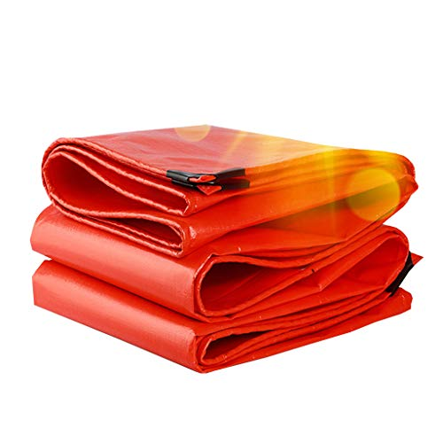 YX-Bâche Polyéthylène tissé Haute densité et Double stratifié, bâche Polyvalente, imperméable, couvertures de bâche de Protection Orange - Épaisseur 0.38mm, 210g / m²