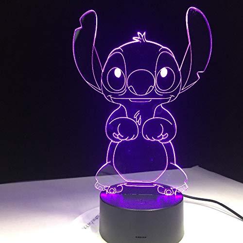 Wangzj 3D Illusion Night Light Led Desk Table Lamp /7/ Art Sculpture Lights Birthday Gift for Kids Bedroom Decor Stitch Cartoon Base Lamp