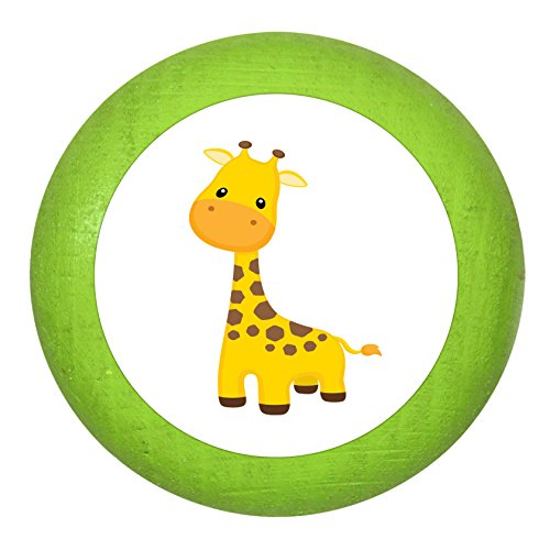 """Holz Bucheknauf""""Giraffe"""" limette grün Holz Buche Kinder Kinderzimmer 1 Stück wilde Tiere Zootiere Dschungeltiere Traum Kind"""