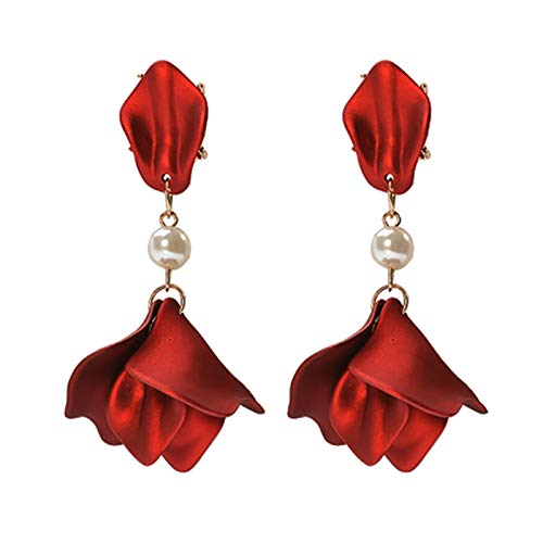 Aretes Primavera Verano Pendientes Rojos Regalos Vintage Vino Rojo Rosa Flor Pendientes Elegante Pétalo Borla Pendientes Largos De Gota Joyería De Mujer