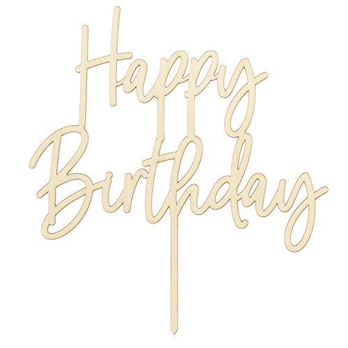DekoHaus Cake Topper Happy Birthday aus Holz Tortenaufleger Kuchendekoration Tortenfigur