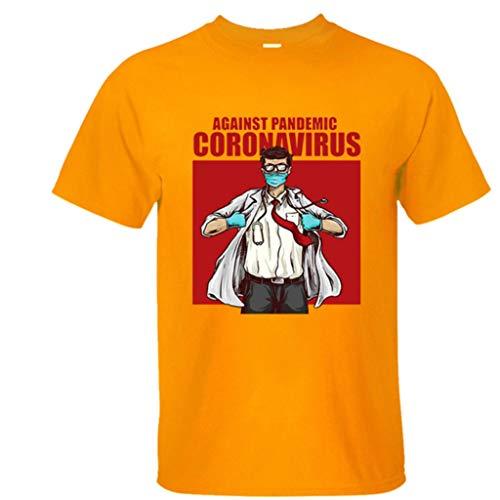 LXHcool Infermiere di Primo Intervento dei Lavoratori Essenziali Heroes Indossare Maschere Womens T Shirt COV_ID Coron_avirus Camicia (Color : Yellow, Size : L)