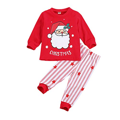 Toddler Infant Baby Girl Boy Christmas Clothes Long Sleeve T-Shirt Top Plaid Pants Striped Leggings 2Pcs Outfit Set (Striped-red Santa Claus,4-5T)