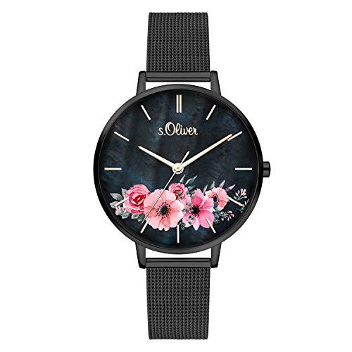 s.Oliver Damen Analog Quarz Armbanduhr mit Edelstahl SO-4081-MQ