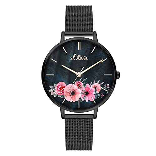 s.Oliver Time Damen Analog Quarz Uhr mit Edelstahl Armband SO-4081-MQ