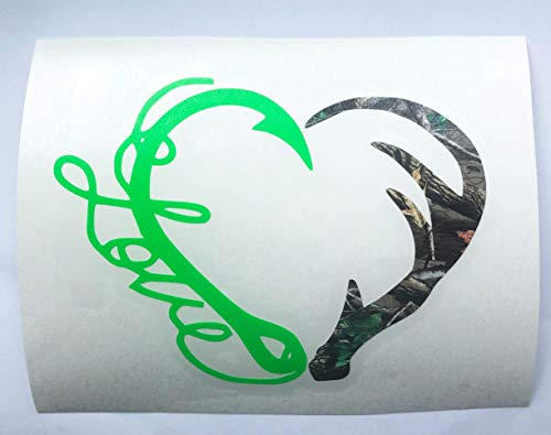 Hunting Fishing Decal | Fish Love Hook Deer Antler Heart Vinyl Sticker for Trucks Yeti Cups Tumblers | Camo and Lime Green, 3 inches