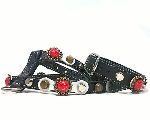 Superpipapo Set Hundegeschirr für Mittelgroße Hunde, Leine Optional, Edel Luxus Schwarz Weiß und Koralle Rot Steine, ML: Hals 32-37 cm, Brust 47-52 cm