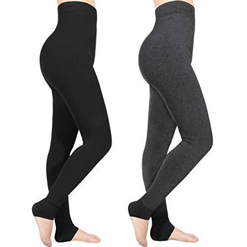 Emooqi Leggings Largas de Invierno para Mujer, Pack de 2 Leggings Cintura Alta, Leggings Térmicos Calientes con Forro Polar, Leggings Pantalones Mallas Elásticos