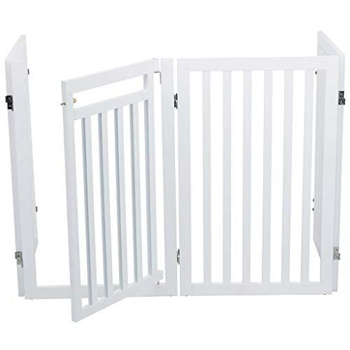 Trixie 39363 Hunde-Absperrgitter, 4-teilig, mit kleiner Tür, 60–160 × 81 cm, weiß