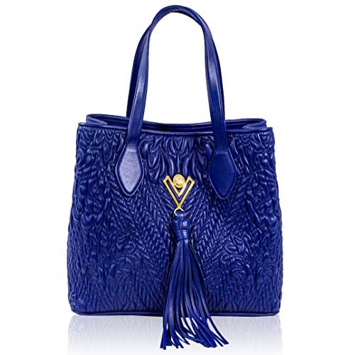 Valentino Orlandi Women's Large Handbag Italian Designer Shoulder Bag Purse Cobalt Blue Embroidered Genuine Leather Tote with Tassel