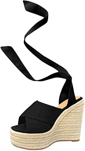 Minetom Sandalias Mujer Verano,Mujeres Pescado Boca Plataforma Tacones Altos Sandalias cuña Hebilla Sandalias de la inclinación Sandals Negro EU 38
