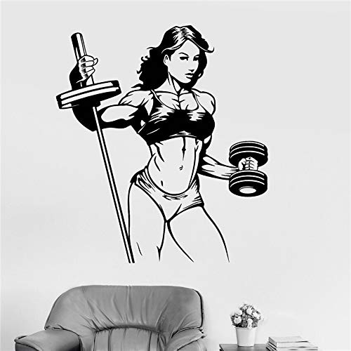 Calcomanía de vinilo para pared Fitness mujer gimnasio deportes chica pegatina dibujos animados vinilo habitación artista decoración del hogar pegatina de pared extraíble A9 58x 66 cm