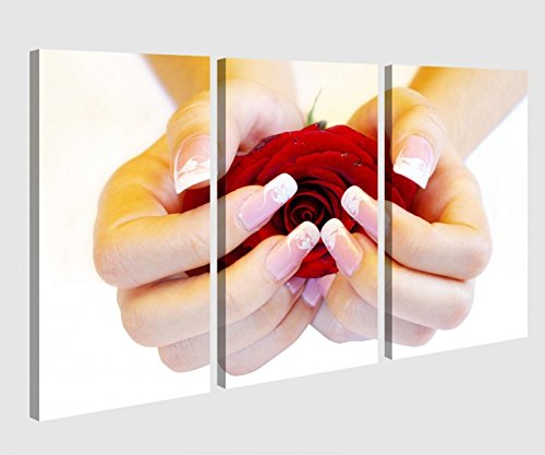 Leinwandbild 3 Tlg Nagel Nagelstudio Rose Maniküre Blume Nägel Nail Art Leinwand Bild Bilder Holz fertig gerahmt 9P990, 3 tlg BxH:120x80cm (3Stk 40x 80cm)