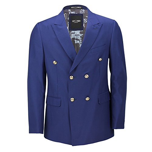 Blazer vintage Classique Pour homme, double boutonnage, Noir, Bleu, Boutons Dorés – Homme – 4 couleurs - bleu - poitrine 48