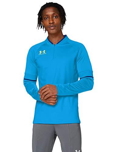 Under Armour Challenger III Midlayer, Camiseta de Hombre para Hacer Deporte, indispensable Ropa de Deportes Hombre, Azul (Electric Blue/Graphite Blue/Yellow Ray((407)), XL