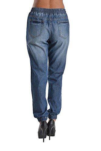 Women's Distressed Hole Cutout Denim Skinny Jogger Jeans 4