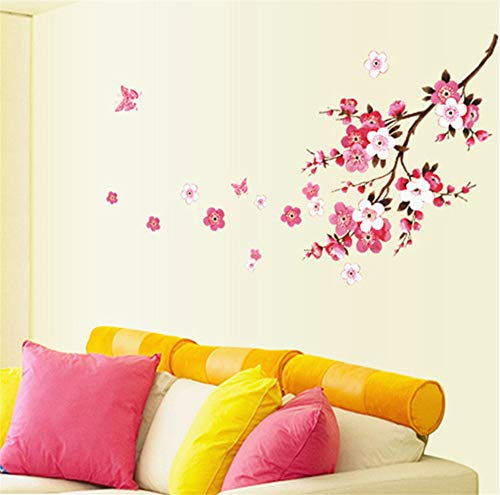 Lbonb Rote Pflaume Kirsche Blume Baum Zweig Wandaufkleber Frauen Salon Schlafzimmer Dekoration Sef Klebewände Vinyl Aufkleber Niedrigen Preis