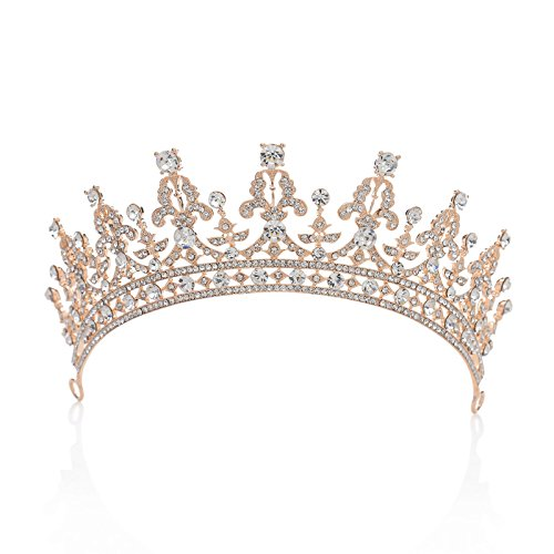 SWEETV Royal Wedding Crown Crystal Tiara for Women Bridal Headpiece Pageant Hair Jewelry, Rose Gold+Clear