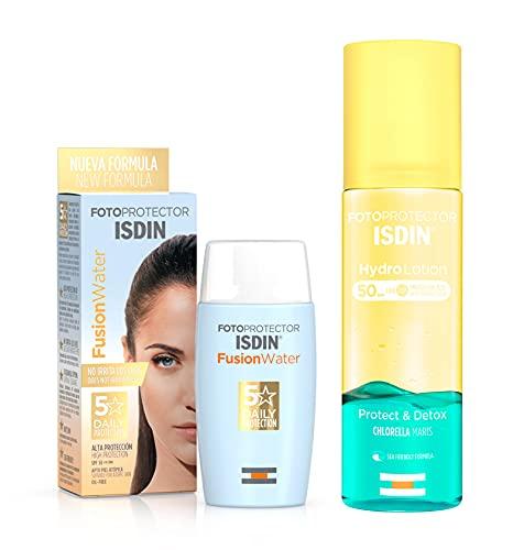 ISDIN PACK Protector Solar Facial Fusion Water SPF 50, Protector Solar Corporal HydroLotion SPF 50 Protect & Detox