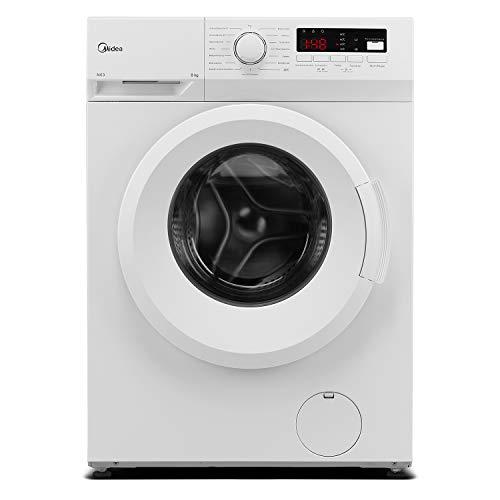 Midea Waschmaschine MFNEW80-145 / 8KG Fassungsvermögen / Energieeffizienzklasse E / 1400 U/min / Trommelreinigung- Erinnerung / Startzeitvorwahl, Weiß, 8 kg