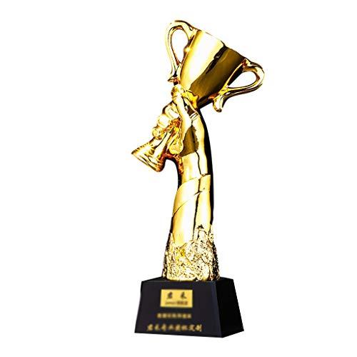 Trofeos Copa De Campeón De Resina Chapada En Oro Premio De Resina De Reunión Anual Competencia Deportiva, Campeonato, Medalla De Oro Ganadora del Equipo (Color : Gold, Size : 28 * 8cm)