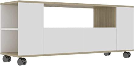 vidaXL TV Cabinet Living Room Bedroom Furniture Plasma HiFi Stereo Stand Entertainment Centre Unit Lowboard White and Sono...