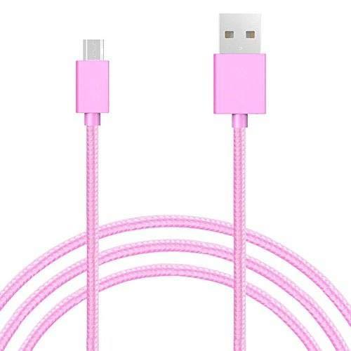 Sweet Tech Cavo Micro USB Rosa 1.5m Nylon Intrecciato Trasmissione dati e Ricarica Rapida Anti Nodi Cavo adatto per Oukitel U7 Plus 4G