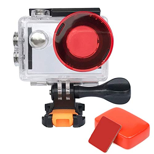 VVHOOY Action Camera Waterproof Housing Case with Red Filter and Floaty Sponge Compatible with AKASO EK7000&Plus/EKEN/REMALI CaptureCam/Zonko Action Camera Lens Protect