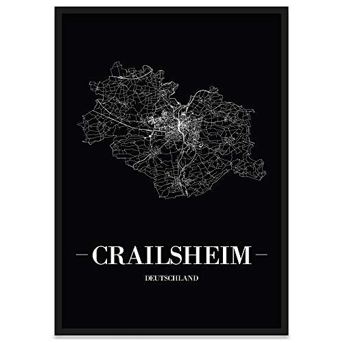 JUNIWORDS Stadtposter, Crailsheim, Wähle eine Größe, 40 x 60 cm, Poster mit Rahmen, Schrift A, Schwarz