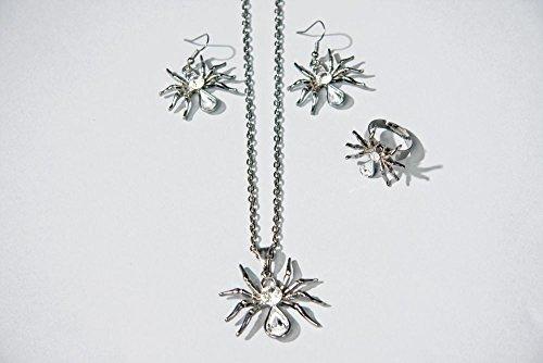 Schmuck Set Spinne, bestehend aus Kette, Ohringe und Fingerring