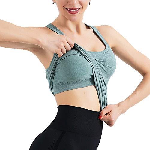 Yoga Athletic Tops para mujer falso chaleco deportivo de dos piezas acolchado para mujer, sujetador deportivo de entrenamiento, sujetadores de fitness, verde medio