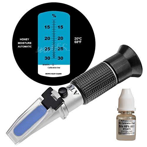 HHTEC Imker Refraktometer Honig 12-30{47ce0f8d5fd7c9727678fcc35e372880c7742950e5a7502dc2b068776c789a66} Wasser Feucht Handrefraktometer für Honig 5 Fach verbesserte Genauigkeit mit Anleitung in Deutsch