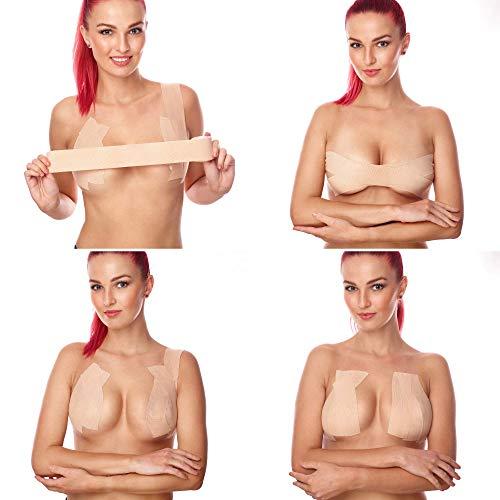 Premium Cinta Adhesiva para Pechos Grandes, Piel Clara, Boob Tape Resistente al Agua Cinta Adhesiva con Efecto Sujetador Invisible + 6 Pezoneras Adhesivas - Nude Breast Tape Ancho 5 cm