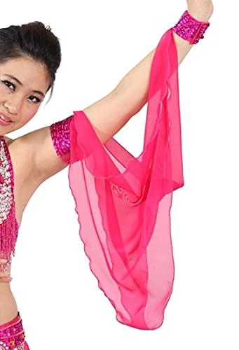 XKMY Cadena de mano para danza del vientre, accesorios para disfraz de danza del vientre, 1 pieza, mangas ajustables, manga de gasa, brazaletes de lentejuelas, 11 colores (color fucsia)