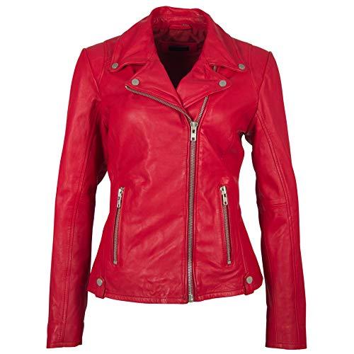 Deercraft Damen Lederjacke Bikerjacke Shella LNV Jacke aus Nappaleder Navy & Red in versch. Größen, Farbe:red, Größe:46