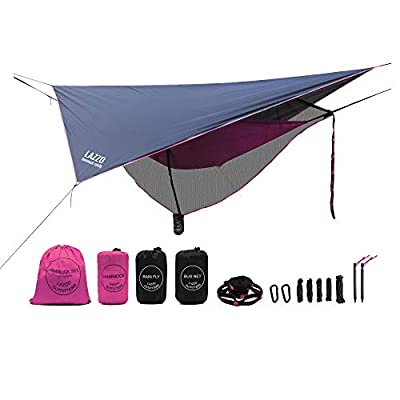 LAZZO Camping Hammock Set All-Inclusive,Single Hammock,Bug Net,Tarp,Suspension,Guyline,Stakes and Backpack,Perfect for Backpacking,Camping,Hiking & Yard (Pink, 9.2)