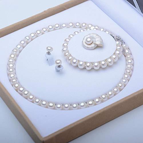 Lnyy Natürliche Süßwasser Perlenkette Set Kette Armband Gestüt Ohrringe Drei Stück Set zufällige Brosche Elegante Perle